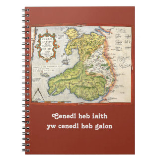 Vintage Map of Wales and Anglesey 1579 Spiral Notebook