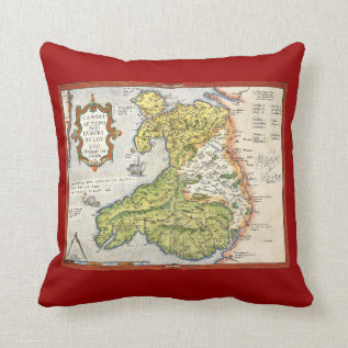 Vintage Map Of Wales And Anglesey 1579 Throw Pillow at Zazzle