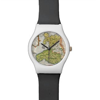 wristwatch with a reproduction of an illustrated color map of Wales and Anglesey published in 1579. The main geography of mountain ranges, rivers, and towns are featured.