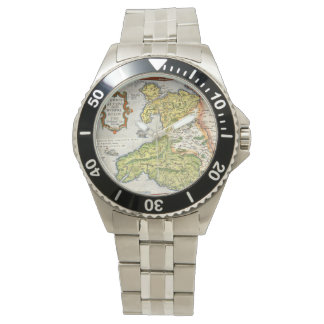 Vintage Map of Wales and Anglesey 1579 Wrist Watches