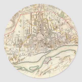 Vintage Map of Warsaw Poland (1831) Classic Round Sticker