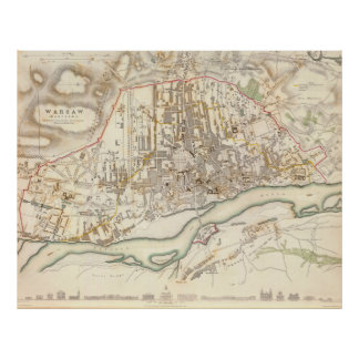 Vintage Map of Warsaw Poland (1831) Poster