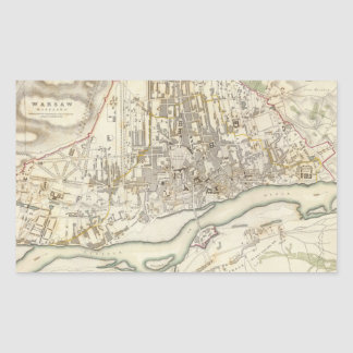 Vintage Map of Warsaw Poland (1831) Rectangular Sticker