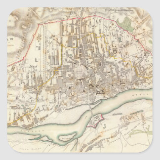 Vintage Map of Warsaw Poland (1831) Square Sticker