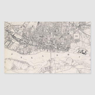 Vintage Map of Warsaw Poland (1836) Rectangular Sticker