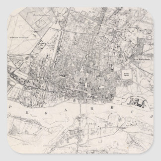 Vintage Map of Warsaw Poland (1836) Square Sticker