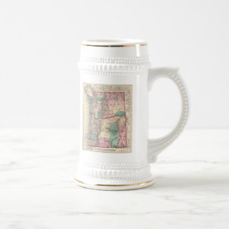 Vintage Map of Washington and Oregon (1875) Beer Stein