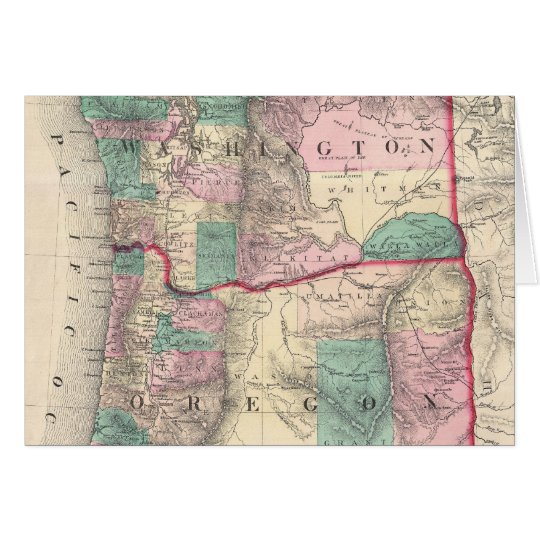 Vintage Map of Washington and Oregon (1875) Card