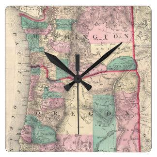 Vintage Map of Washington and Oregon (1875) Square Wallclocks
