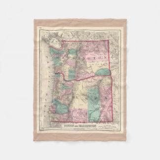 Vintage Map of Washington and Oregon (1875) Fleece Blanket