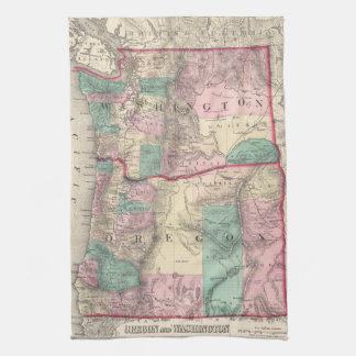 Vintage Map of Washington and Oregon (1875) Kitchen Towels
