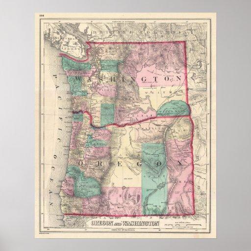 Vintage Map Of Washington And Oregon (1875) Poster