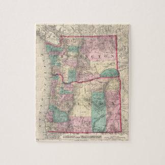 Vintage Map of Washington and Oregon (1875) Jigsaw Puzzles