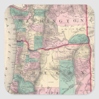 Vintage Map of Washington and Oregon (1875) Stickers