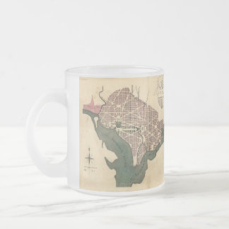 Vintage Map of Washington D.C. (1793) 10 Oz Frosted Glass Coffee Mug