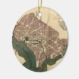 Vintage Map of Washington D.C. (1793) Ceramic Ornament