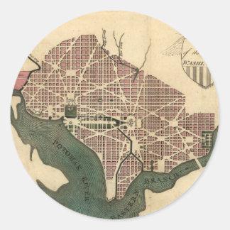 Vintage Map of Washington D.C. (1793) Classic Round Sticker