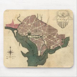 Vintage Map of Washington D C 1793 Mouse Pads