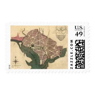 Vintage Map of Washington D.C. (1793) Stamp
