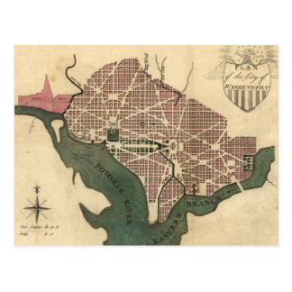 Vintage Map of Washington D.C. (1793) Postcard
