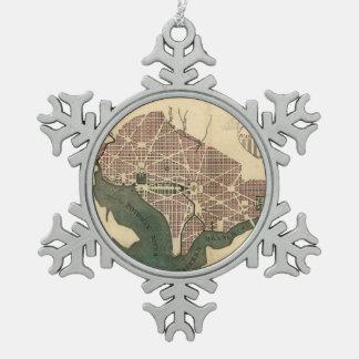 Vintage Map of Washington D.C. (1793) Snowflake Pewter Christmas Ornament