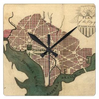 Vintage Map of Washington D.C. (1793) Square Wall Clock