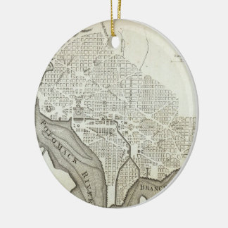 Vintage Map of Washington D.C. (1794) Double-Sided Ceramic Round Christmas Ornament