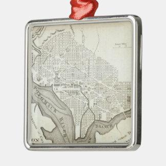 Vintage Map of Washington D.C. (1794) Square Metal Christmas Ornament