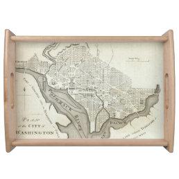 Vintage Map of Washington D.C. (1794) Serving Tray