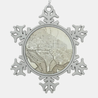 Vintage Map of Washington D.C. (1794) Snowflake Pewter Christmas Ornament