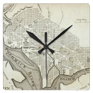 Vintage Map of Washington D.C. (1794) Square Wall Clock