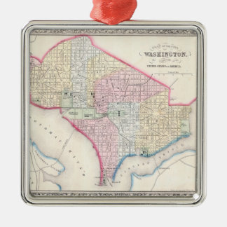 Vintage Map of Washington D.C. (1864) Metal Ornament