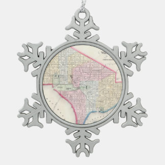 Vintage Map of Washington D.C. (1864) Snowflake Pewter Christmas Ornament