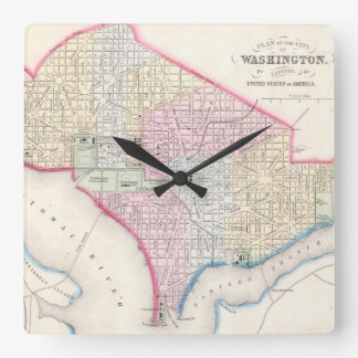 Vintage Map of Washington D.C. (1864) Square Wall Clock