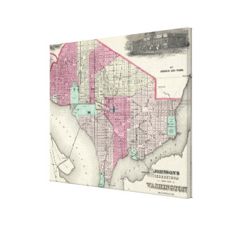Vintage Map of Washington D.C. (1866) Gallery Wrapped Canvas