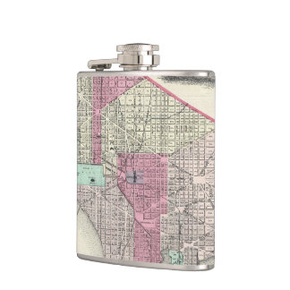 Vintage Map of Washington D.C. (1866) Flask