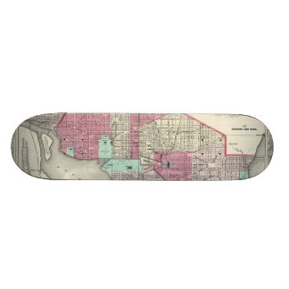 Vintage Map of Washington D.C. (1866) Skateboard