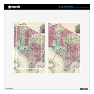 Vintage Map of Washington D.C. (1866) Decal For Kindle Fire