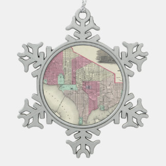 Vintage Map of Washington D.C. (1866) Snowflake Pewter Christmas Ornament