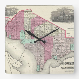 Vintage Map of Washington D.C. (1866) Square Wall Clock