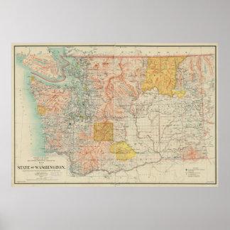 Vintage Map of Washington State (1897) Poster