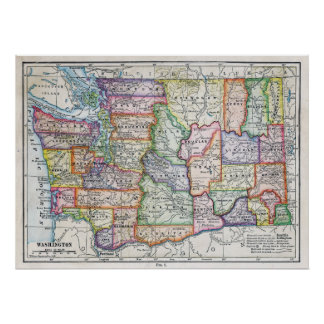Vintage Map of Washington State Poster