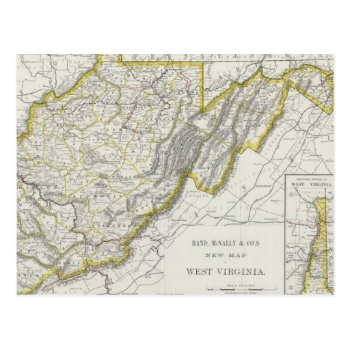 Vintage Map of West Virginia (1889) Postcards