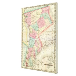 Vintage Map of Westchester New York (1864) Canvas Print