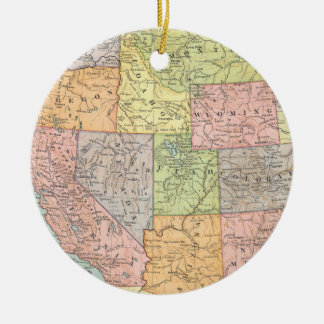 Vintage map of Western United States Ceramic Ornament