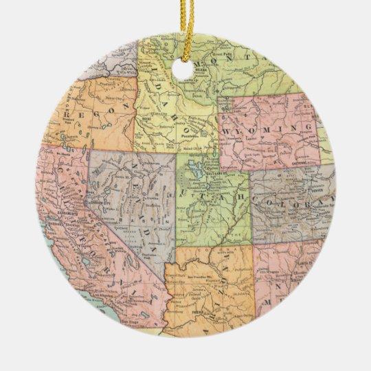 Vintage map of Western United States Ceramic Ornament
