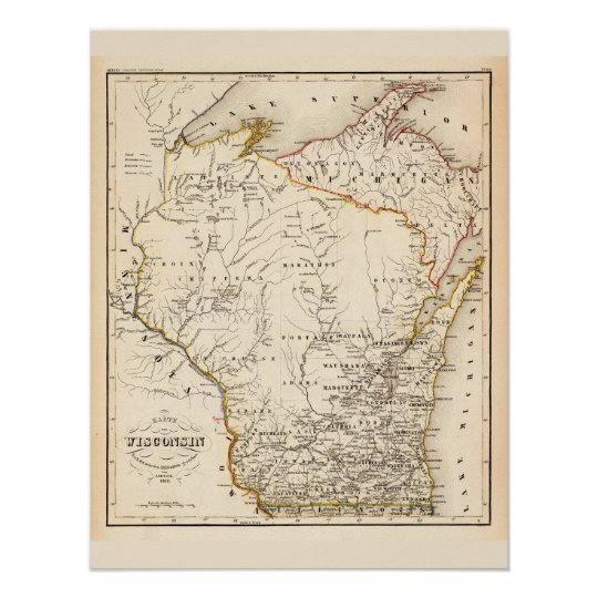 Vintage map of Wisconsin 1852 Poster | Zazzle.com