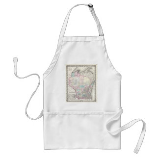 Vintage Map of Wisconsin (1855) Adult Apron
