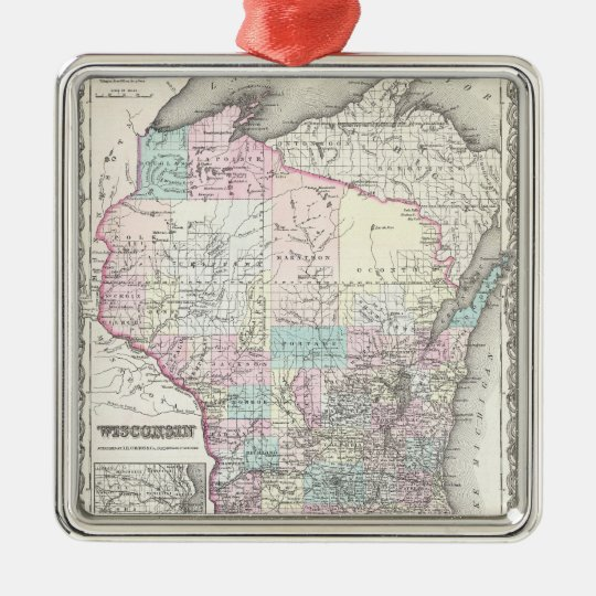 Vintage Map of Wisconsin (1855) Metal Ornament