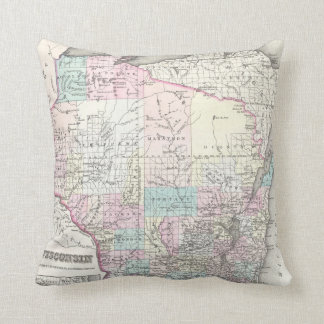 Vintage Map of Wisconsin (1855) Pillows